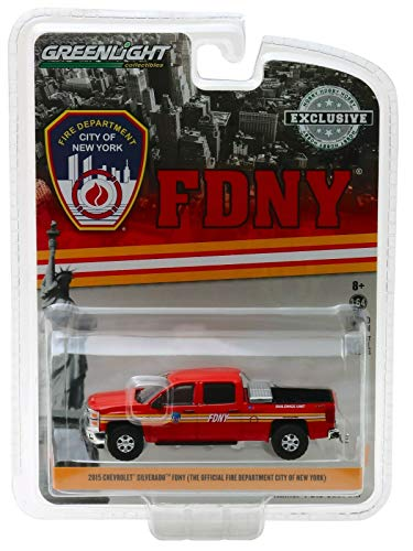 2015 Chevrolet Silverado 4x4 Pickup Truck FDNY (The Official Fire Department City of New York) Hobby Exclusive 1/64 Diecast Model Car by Greenlight 30009 64 Scale Diecast Truck Car