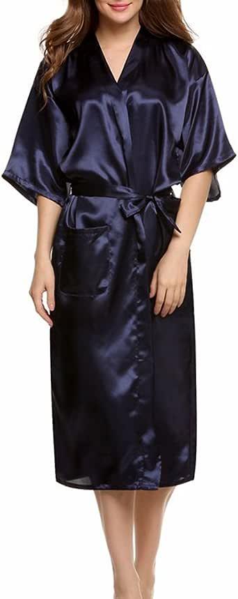 ENJOYNIGHT Women's Kimono Robes Satin Pure Colour Long Style with Oblique V-Neck Robe