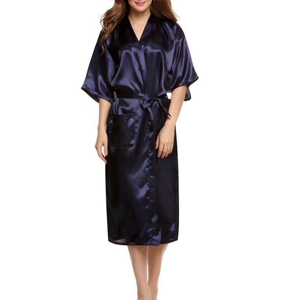 ENJOYNIGHT Women\'s Kimono Robes Satin Pure Colour Long style with Oblique V-Neck Robe (Dark Blue, Large)
