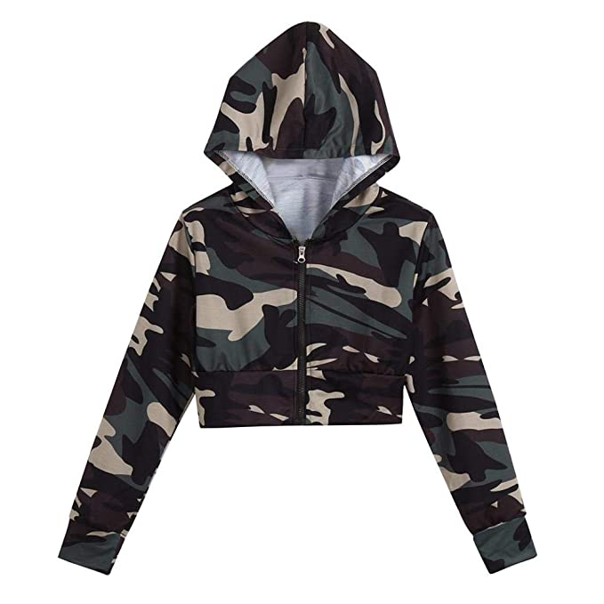 ae660c9cdd1 Gocheaper Womens Fashion Camouflage Print Shirt Short Sweater Long Sleeve  Blouse Hooded (M