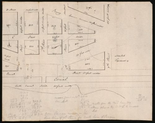 1810 Map Plan of basin between 12 & 10th streets as laid out for the Canal Co. : Washington Canal, - Map Canal Shopping Street