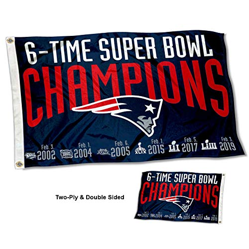 WinCraft New England Patriots Double Sided 6 Time Super Bowl Champions Flag -
