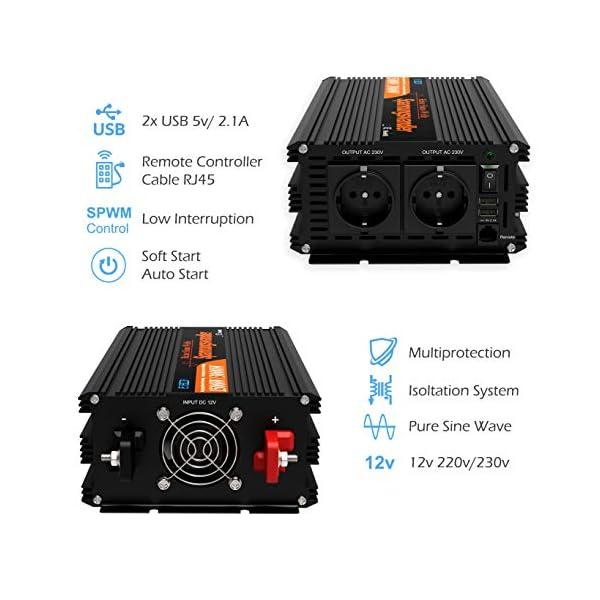 51T6fZC3P1L EDECOA Wechselrichter reiner sinus 1500w Spannungswandler 12V 230V 2x USB und Fernbedienung Spannungswandler Reiner…