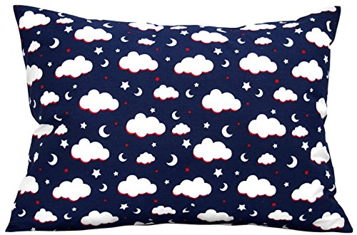 Kids Toddler Pillowcase 13x18 by Comfy Turtles, 100% Cotton, Hypoallergenic Cover for Wonderful Sleep and Dreams, Design for Boys and Girls (Navy Blue Clouds) ()