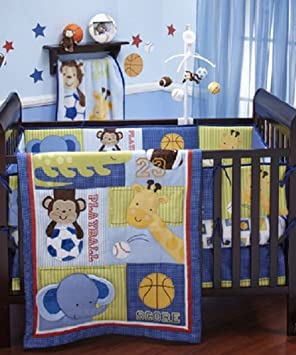 nojo little bedding crib 4 piece set play time sports safari jungle