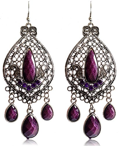 - Eternity J. Classy Charm Rhinestone Ethnic Earrings Antique Vintage Victorian Tear Drop Earing