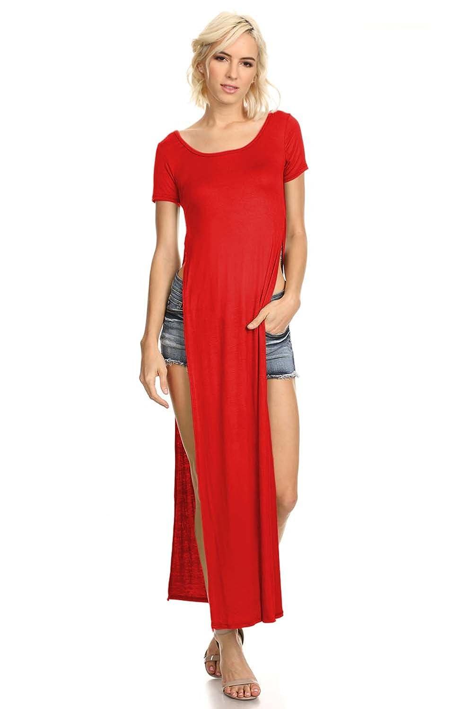 7111bd3da62c36 Women's Tshirt Double Deep Side Split Slit Maxi Dress at Amazon Women's  Clothing store:
