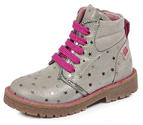 Agatha Ruiz De La Prada Mädchen 161946 Combat Boots Grau (Vapore Y ESTAMPADO Estrellas)