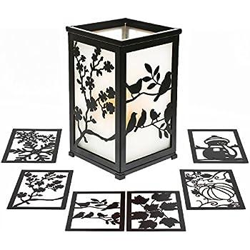 Decorative Rustic Lantern with Flickering Flameless LED Candle, Hurricane Lantern with Twelve Magnetic Seasonally Themed Panels