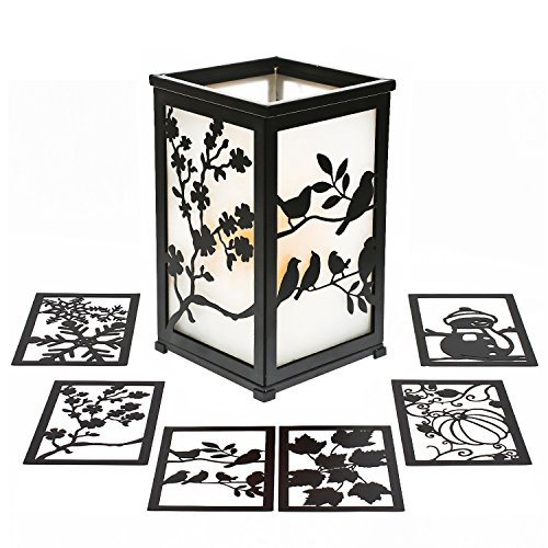 GiveU Decorative Rustic Lantern with Flickering Flameless LED Candle, Hurricane Lantern with Twelve Magnetic Seasonally Themed Panels by GiveU