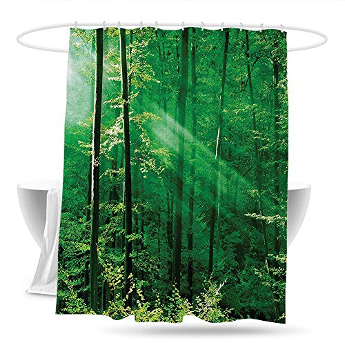 huangfuzz Forest Bathtub Splash Guard Sunlight Bursting into The Forest Trees Foliage Misty Morning Serenity Picture Waterproof Colorful Funny 59in×70in Green White
