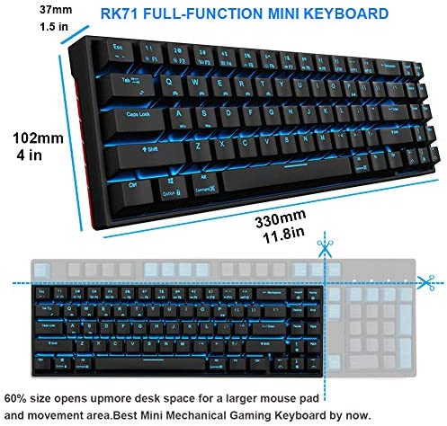 RK71 Mechanical Keyboard 71 Keys 70% LED Backlit Compact Gaming Keyboard,Tenkeyless Wired/Wireless Bluetooth Portable Gaming/Office with Stand-Alone Arrow Keys for Mac Windows (Brown Switch-Black) 51T6gEiwo7L