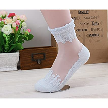 Blue Stones Fashion Summer Socks Women Sweet Color Ultrathin Transparent Crystal mesh Lace Elastic Short Socks