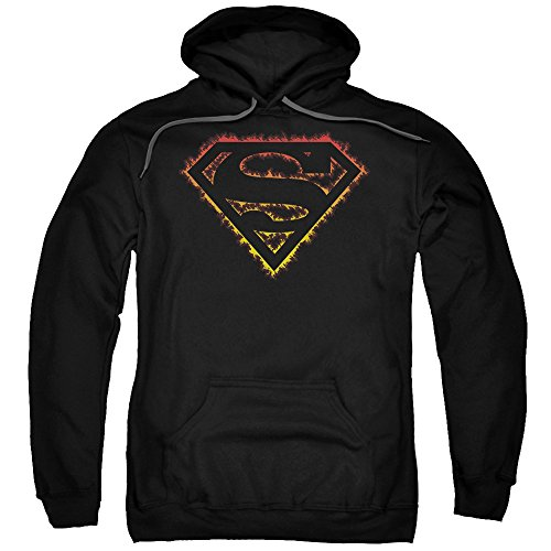 Trevco Superman Flame Outlined Logo Unisex Adult Pull-Over Hoodie for Men and Women, X-Large - Flame Superman Shirt Logo