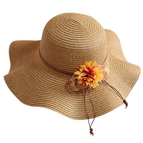 Adarl Women Beach Wide Brim Sun Hat Floppy, Straw Hats with Daisy Decor, A-Khaki ()