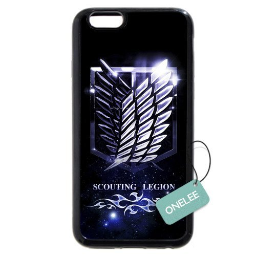 iPhone 6S Plus Case,Onelee Japanese Anime Series Attack On Titan Black Rubber(TPU) Case For iPhone 6S Plus 5.5