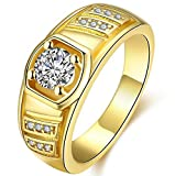 PSRINGS 18K Real Yellow Gold Plated Hiphop Golden Rings Hip Hop Punk Rock Bar Club Birthday 8.0