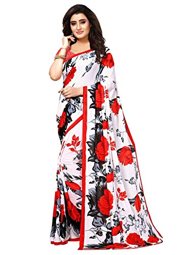 KANCHNAR Women's Off White Georgette Printed Saree with Unstitched Blouse