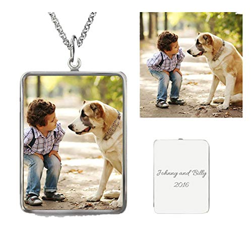 Lenox Sterling Silver Necklace - Personalised Photo Necklace with Back Engraving-A Perfect Personalised Gifts for Loved One(Square Shape|20.0 inches)