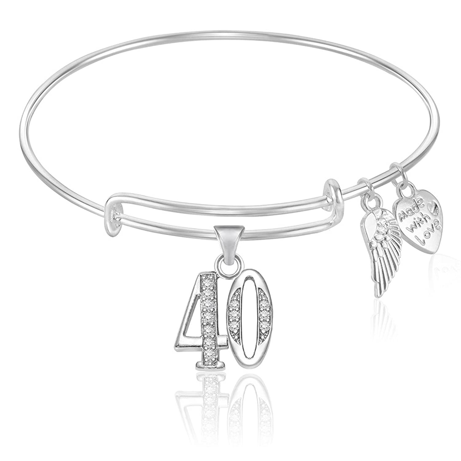 Amazon.com: Number 40 Forty 40th Birthday Expandable Wire Bangle ...