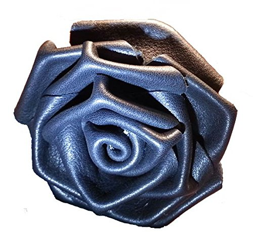 (Leather Rose Flower BLACK - all leather - wire stem - Made in)