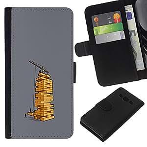 KLONGSHOP // Tirón de la caja Cartera de cuero con ranuras para tarjetas - Juego de mesa divertido Ingeniero Arquitecto - Samsung Galaxy A3 //