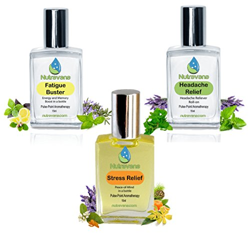 Nutravana 'Remedy Trio' Gift Set Headache & Stress Relief, Fatigue Buster Natural Health Aromatherapy Spa Bliss for Women Men Mom Dad Girls or Get Well -Ready to Roll-on -Safe for Kids -100% Guarantee