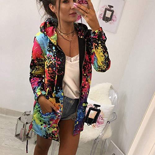 Zhrui XL Femme Manteau Couleur Outwear Sweat Cravate Teinture Taille Pardessus capuche Noir Mode Blanc Imprimée à r6Xfr