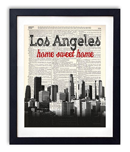 Los Angeles Home Sweet Home Vintage Upcycled Dictionary Art Print - Rectangular Sweet