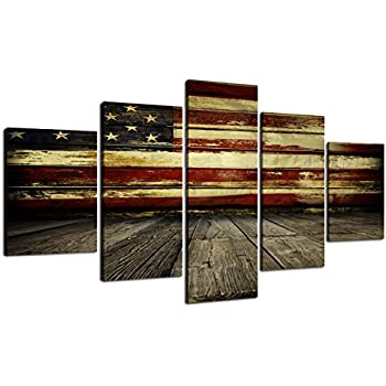 Wooden Flag Wall Pictures for Living Room Canvas Print Retro Vintage  American Flag Modern Art Painting 5pcs Framed Posters and Prints Bedroom  Giclee