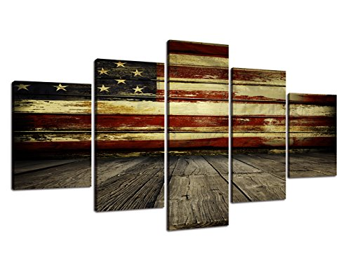 Canvas American - Wooden Flag Wall Pictures for Living Room Canvas Print Retro Vintage American Flag Modern Art Painting 5pcs Framed Posters and Prints Bedroom Giclee Print Gallery Wrap Artwork Stretched(60''W x 32''H)