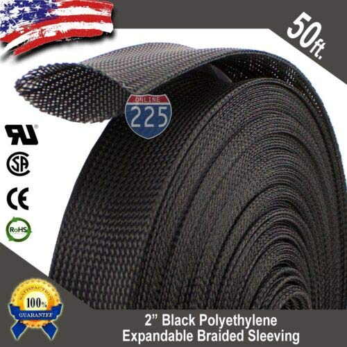 - Splash deal 50 FT. 2'', Black Expandable Wire Cable Sleeving Sheathing Braided Loom Tubing US A, unused, unopened, Undamaged Item