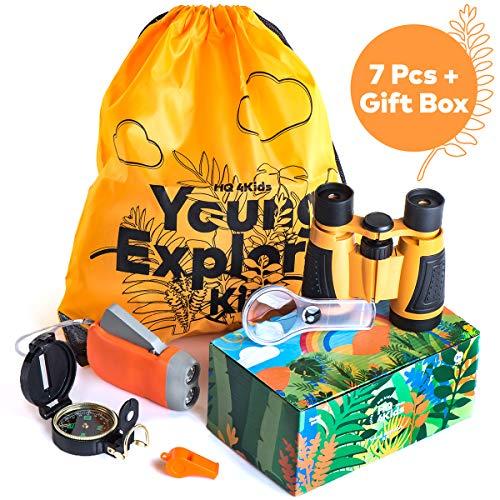 HQ4Kids - Outdoor Adventure Kit for Kids: Set Binoculars, Compass, Magnifying Glass & Flashlight. Explorer Hiking & Camping Toy Kit, for Exploring Nature & Birthday Gift 3-12 Year Old Boys & Girls