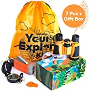 HQ 4KIDS BY: WE 4U - Outdoor Adventure Kit for Kids: Set Binoculars, Compass, Magnifying Glass & Flashlight. Explorer Hiking