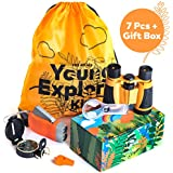 HQ4Kids - Outdoor Adventure Kit for Kids: Set Binoculars, Compass, Magnifying Glass & Flashlight. Explorer Hiking & Camping Toy Kit, Great for Exploring Nature, Holidays, Christmas & Birthday Gift