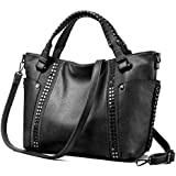 Tote Bag for Women Large Faux Leather Purse and Handbags Ladies Work Designer,Black,M