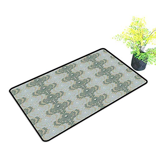 gmnalahome Large Door Mats Shoes Scraper Damask Ornament Background Wallpaper Print Blue and Taupe Use for Front Door Entrance W21 x H11 INCH
