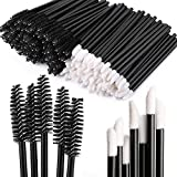 200 Disposable Mascara Wand Spoolies and Lip Brushes, Lipstick Lipgloss Applicator for Eyebrow Eyelash Extension Makeup Kits (Color: 200 Lip, Black Lash brush, Tamaño: m)