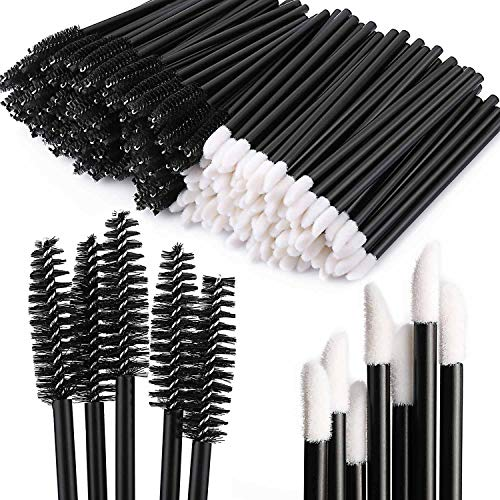 200 Disposable Mascara Wand Spoolies and Lip Brushes, Lipstick Lipgloss Applicator for Eyebrow Eyelash Extension Makeup Kits