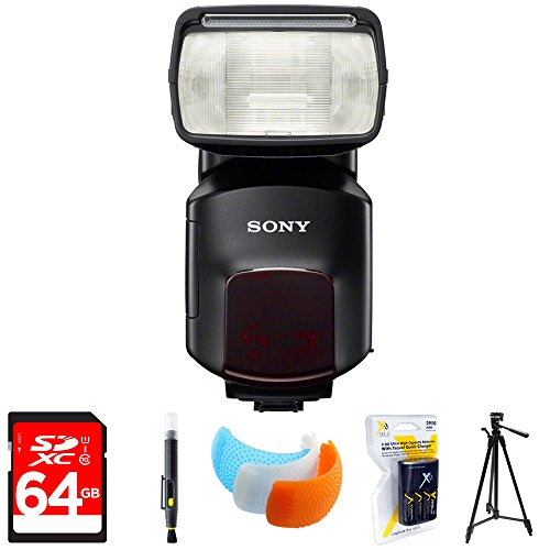 Sony External Flash/Video Light (HVL-F60M) with 64GB Memory Card, LCD/Lens Cleaning Pen, DSLR Camera Flash Diffuser Soft Flash Cover & AA Charger 100-240v with 4 2950mah AA Batteries by Sony