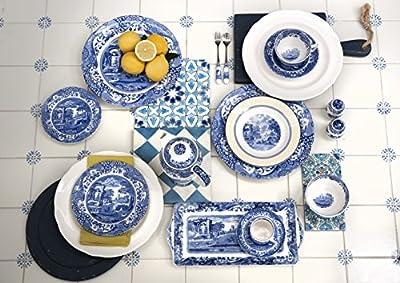 Spode Blue Italian Teacup and Saucer, Set of 4