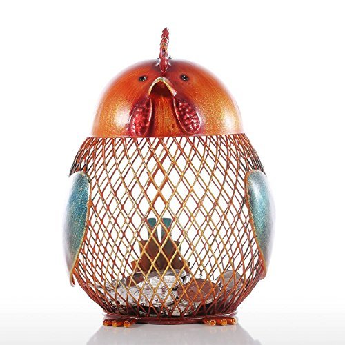 Tooarts Money Bank Rooster Iron Handmade Piggy Coin Bank Practical Craft Home Decoration