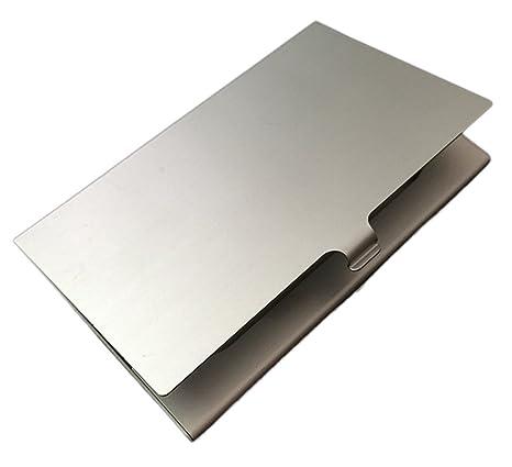 Demarkt Visitenkartenetui Aluminium Visitenkartenhülle Vistenkarten Schutzhülle Für Kreditkarten Bankkarten Geschäftskarte Glatte Oberfläche Silber