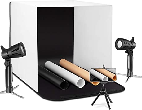 Cube Collapsible Compact and Portable 16inches Foldable LED Photo Studio Quick and Easy Shooting of Small Products 8-Level Adjustable Light