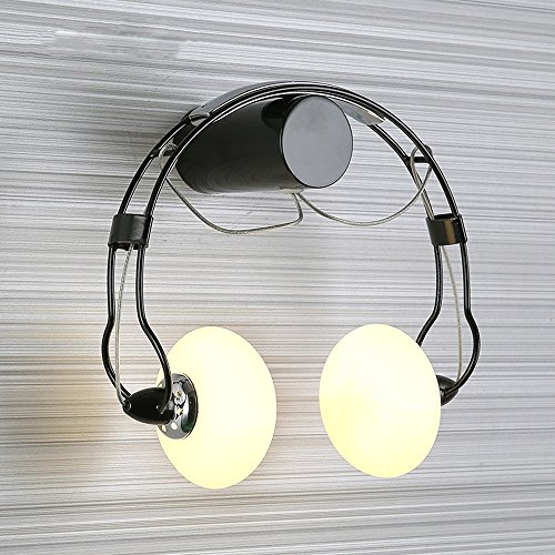 Creative Headset Wall Lamp Modern Simple High Brightness LED Glass Wall Light Corridor Balcony Children Room Decoration Lighting (black, White)