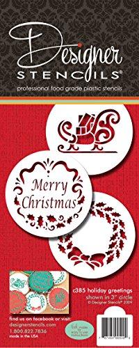 Designer Stencils C385 Holiday Christmas Greetings Cake Stencils, Beige/semi-transparent