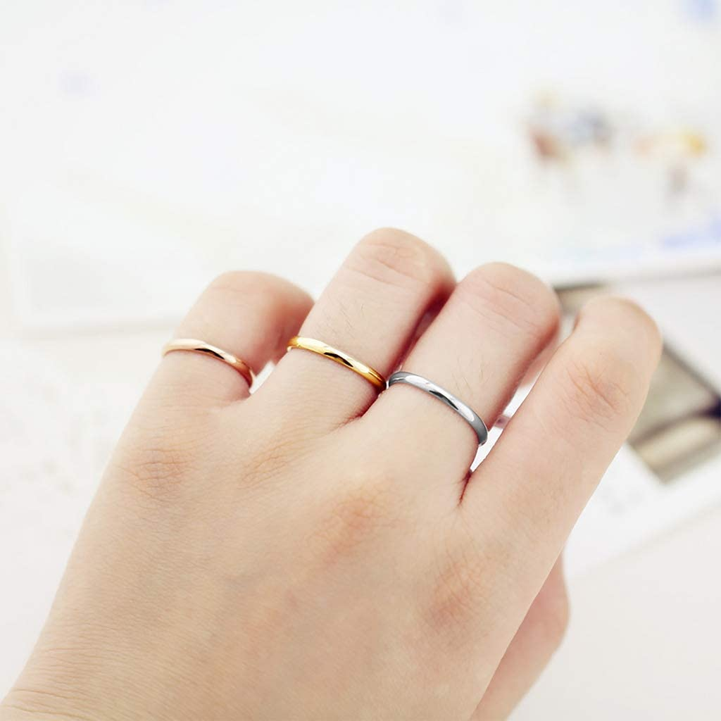 Rose Multicolor High Polish Finish Sizes 5-12 Caprice Jewelry Gold 2mm Stainless Steel Wedding Band Knuckle Stacking Midi Rings Comfort Fit Silver