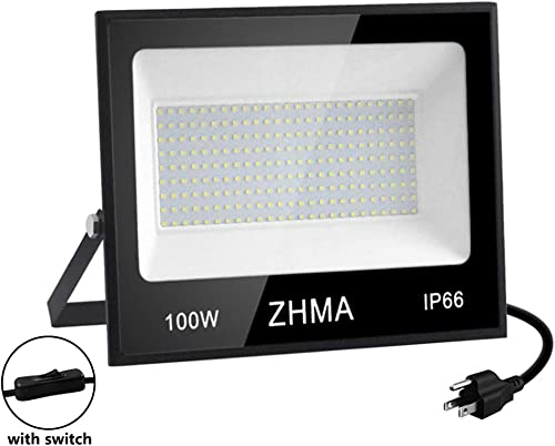ZHMA 100W LED Flood Light, 9000lm Super Bright LED Work Light,White Light, IP66 Waterproof Spotlight Outdoor Landscape Floodlight for Garage, Garden, Lawn, Basketball Court, Playground