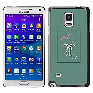 LECELL--Funda protectora / Cubierta / Piel For Samsung Galaxy Note 4 SM-N910 -- Love Valentines Floral Art Locked --