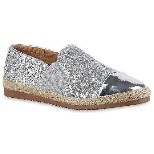 Stiefelparadies Modische Damen Bast Slipper Metallic Espadrilles Ethno Look Flandell Silber